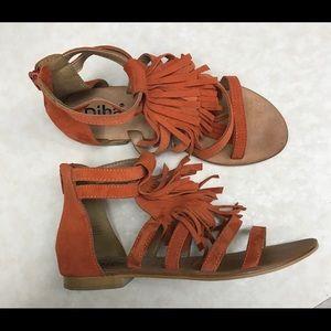 Diva for Stitch Fix Orange fringe leather sandals